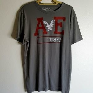American Eagle Outfitters grey red and white T LG